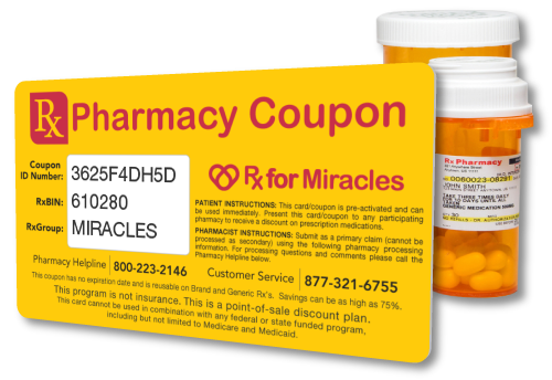 Rx For Miracles Prescription Discount Pharmacy Coupon Card